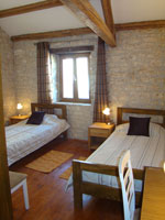One of the barn's two bedrooms in Kovaci, Istria